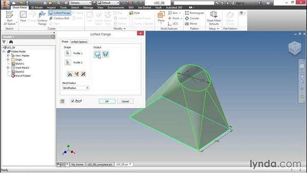 Creating transitions with a lofted flange: Sheet Metal Design with Inventor