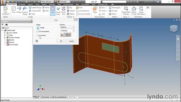 Making cuts in parts: Sheet Metal Design with Inventor