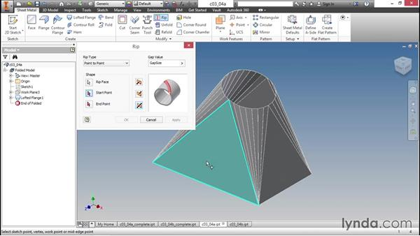 Opening parts with the Rip tool: Sheet Metal Design with Inventor