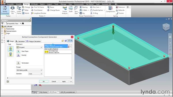 Using specialized fasteners for sheet metal in an assembly: Sheet Metal Design with Inventor
