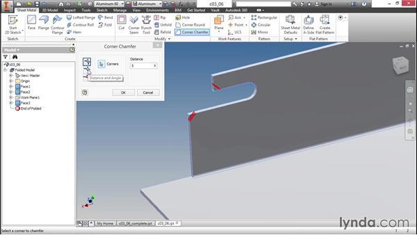 Applying corner treatments: Sheet Metal Design with Inventor