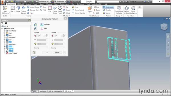 Productivity improvements using pattern tools: Sheet Metal Design with Inventor