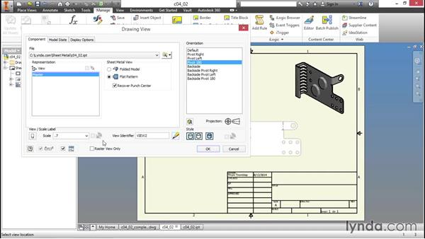 Inserting a flat pattern into a drawing: Sheet Metal Design with Inventor