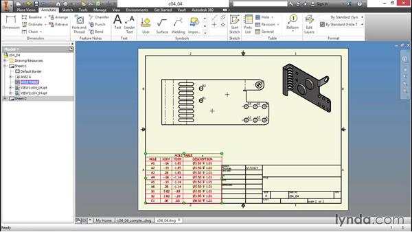 Adding a bend table to a drawing: Sheet Metal Design with Inventor