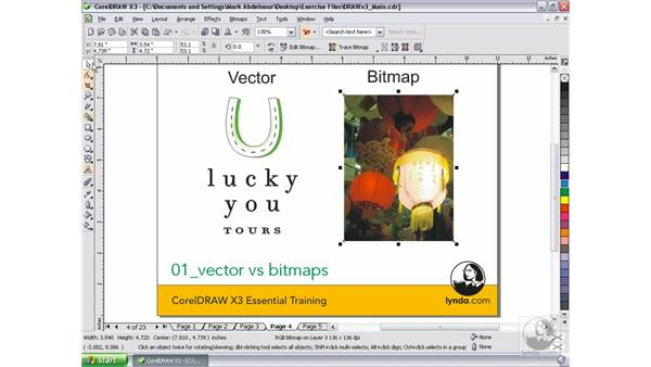Vector vs. rasters/bitmaps: CorelDRAW Graphics Suite X3 Essential Training