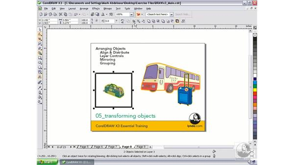Working with multiple objects: CorelDRAW Graphics Suite X3 Essential Training