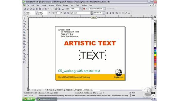 Working with the Text Tool to create Artistic Text: CorelDRAW Graphics Suite X3 Essential Training