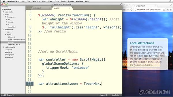 Creating a tween animation: Building a Responsive Single-Page Design with Sass
