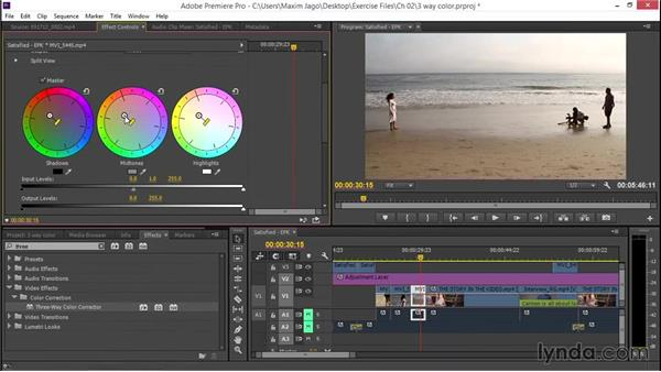 Correcting with the Three-Way Color Corrector: EPK Editing Workflows 03: Color Correction, Visual Effects, and Finishing