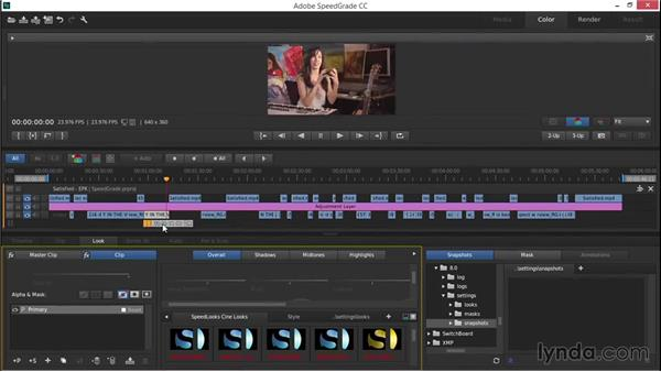 Sharing media with Adobe SpeedGrade: EPK Editing Workflows 03: Color Correction, Visual Effects, and Finishing