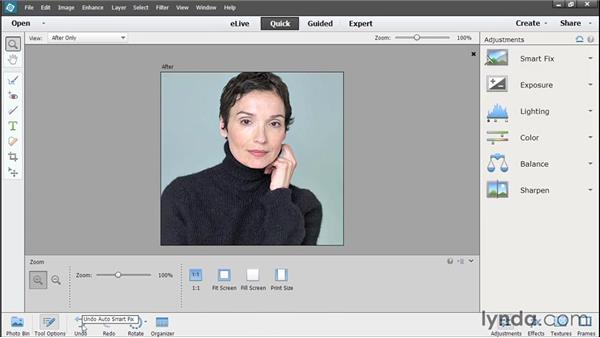 Using Quick Edit in the editor: Photoshop Elements 13 Essential Training