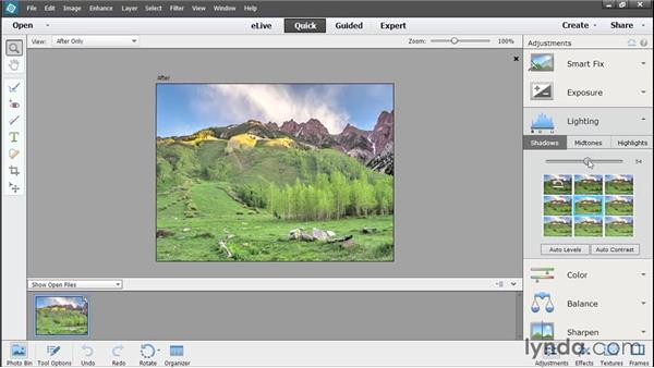 Making lighting adjustments in Quick Edit: Photoshop Elements 13 Essential Training