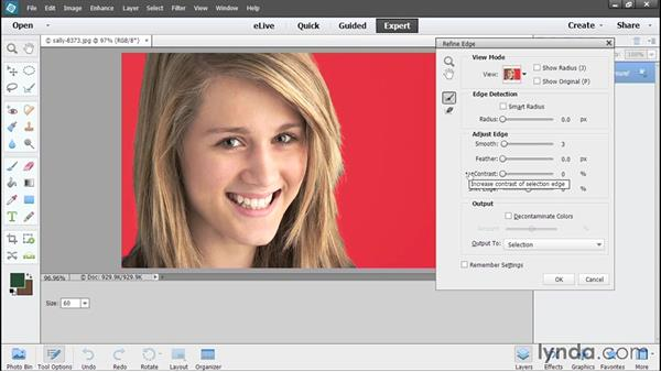 Refining selection edges: Photoshop Elements 13 Essential Training