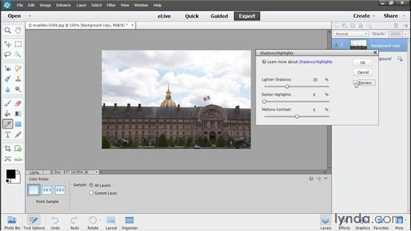 Improving shadows and highlights: Photoshop Elements 13 Essential Training