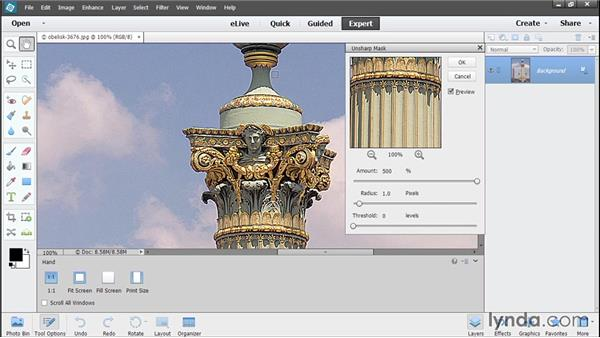 Output sharpening: Photoshop Elements 13 Essential Training