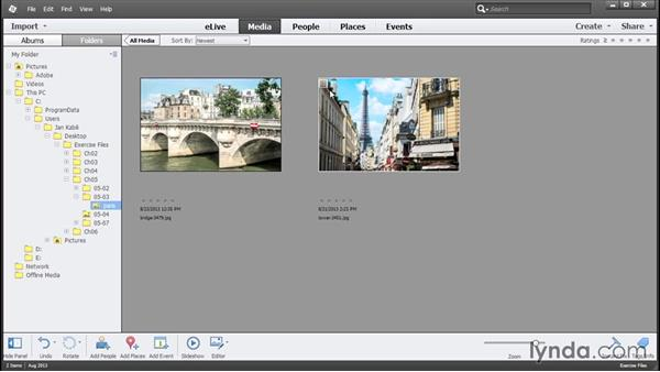 Reconnecting missing photos: Photoshop Elements 13 Essential Training