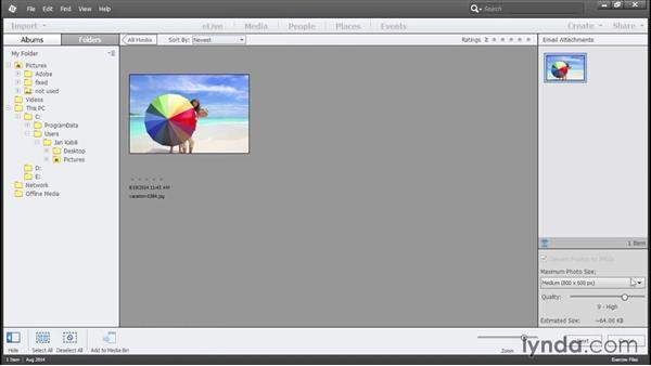 Sending photos by email: Photoshop Elements 13 Essential Training