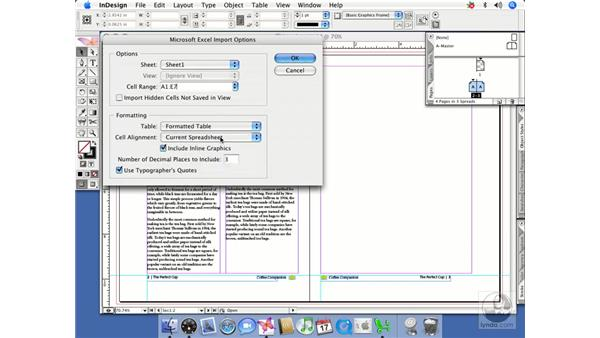 Importing Excel workbooks: InDesign CS2 Beyond the Basics