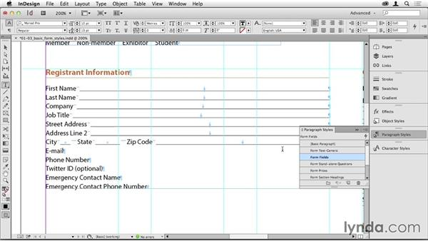Establishing fast, efficient styles that are ideal for forms: Creating PDF Forms with InDesign