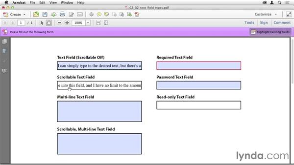 Creating text fields: Creating PDF Forms with InDesign