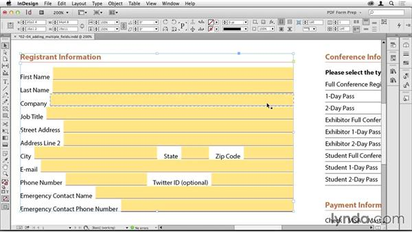 Adding multiple text fields: Creating PDF Forms with InDesign