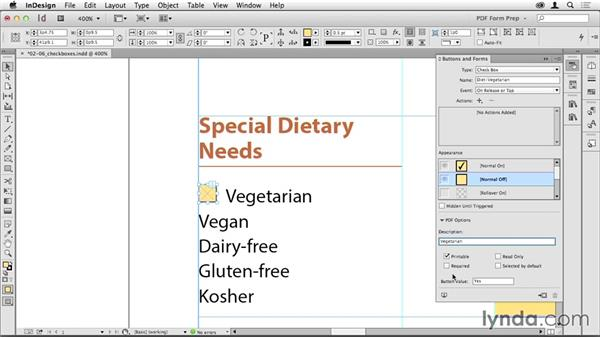Creating check boxes: Creating PDF Forms with InDesign