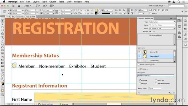 Creating radio buttons: Creating PDF Forms with InDesign