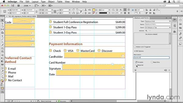 Adding a signature field: Creating PDF Forms with InDesign