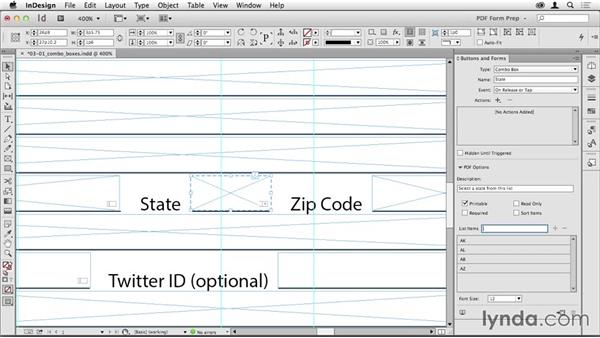 Adding a combo box: Creating PDF Forms with InDesign