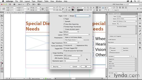 Adding a list box: Creating PDF Forms with InDesign