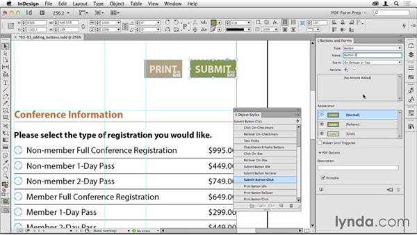 Adding Submit and Print buttons: Creating PDF Forms with InDesign