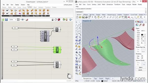 Checking out surface basics: Up and Running with Grasshopper