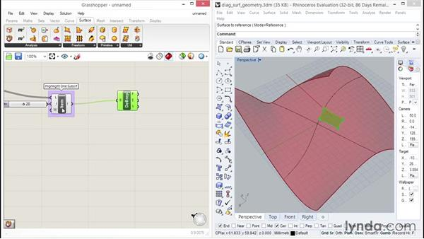 Exploring diagonal grid surfaces: Up and Running with Grasshopper