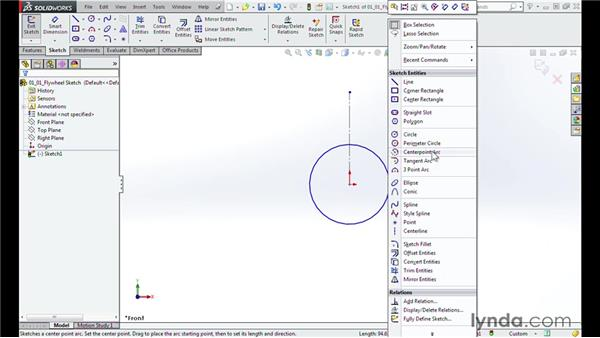 Sketching the flywheel: Modeling a Motorcycle Engine with SOLIDWORKS