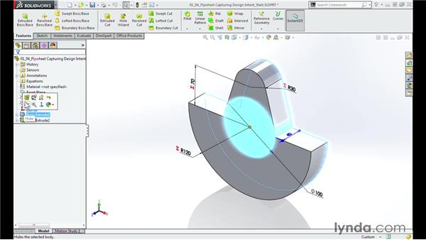 Capturing the design intent of the flywheel: Modeling a Motorcycle Engine with SOLIDWORKS
