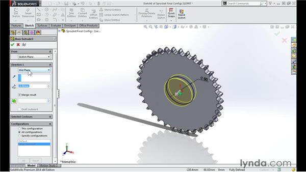 Creating additional gears: Modeling a Motorcycle Engine with SOLIDWORKS