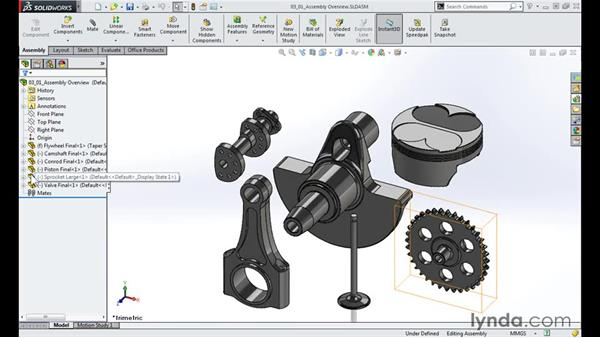 Assembly overview: Modeling a Motorcycle Engine with SOLIDWORKS