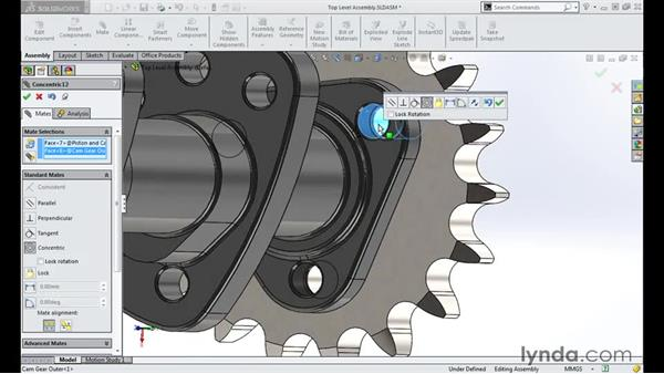 Adding camshaft gears: Modeling a Motorcycle Engine with SOLIDWORKS