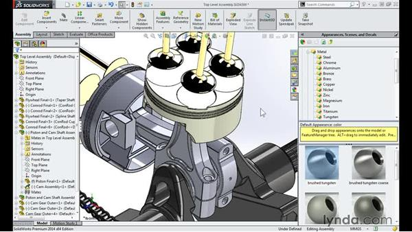 Adding appearances: Modeling a Motorcycle Engine with SOLIDWORKS