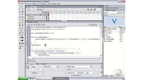 Adding the slideshow descriptive text: Flash Professional 8 Beyond the Basics