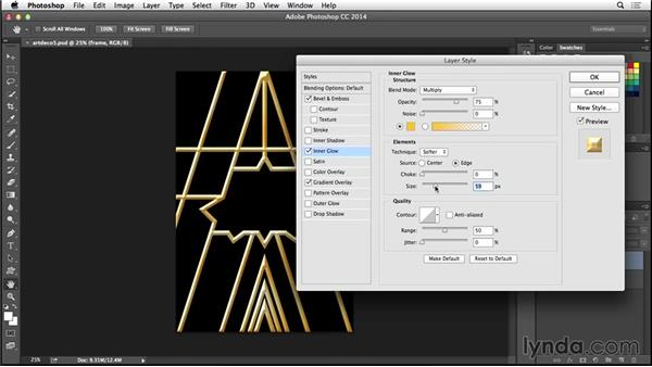 Adding layer effects to the frame layer: Type Project: Art Deco Postcard