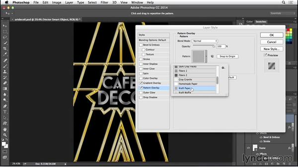 Adding layer effects to the type: Type Project: Art Deco Postcard