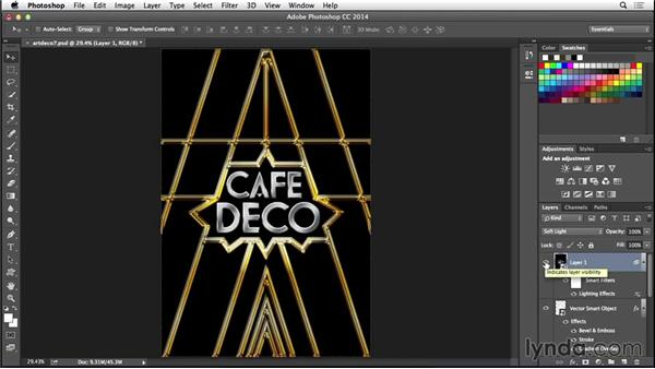 Adding a lighting effect: Type Project: Art Deco Postcard