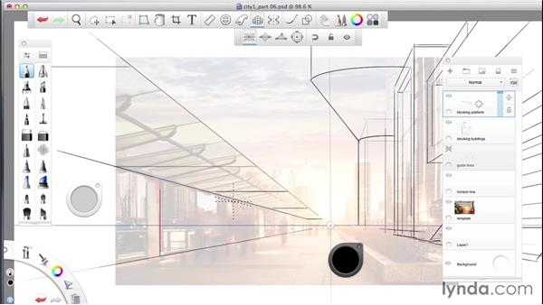 Developing the composition: SketchBook Pro: Drawing One-Point Perspective