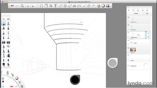 Finalizing the composition: SketchBook Pro: Drawing One-Point Perspective