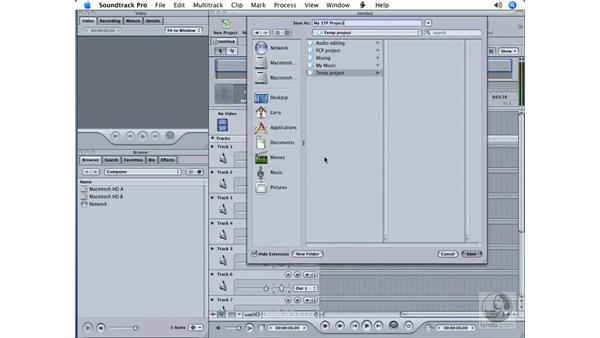 Creating and saving a new project: Soundtrack Pro Essential Training