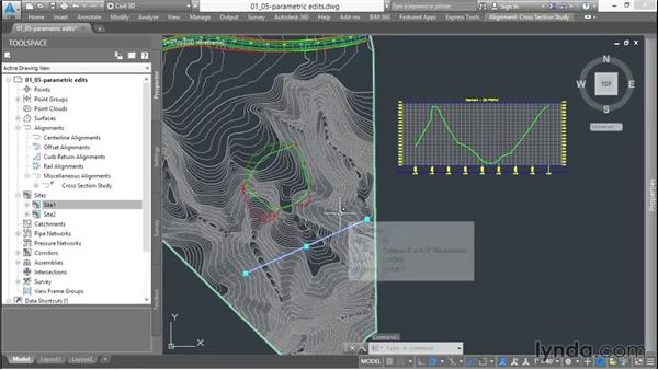 Working with parametric design: Up and Running with Civil 3D