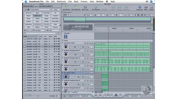 Playback regions and timeslices: Soundtrack Pro Essential Training