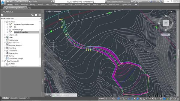 Combining surfaces: Up and Running with Civil 3D