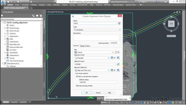 Creating your first alignment: Up and Running with Civil 3D